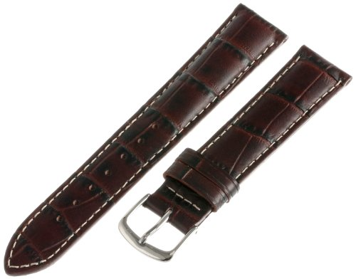 Hadley-Roma Men's MSM834RB-180 18-mm Brown Genuine Italian Calfskin Leather Watch Strap