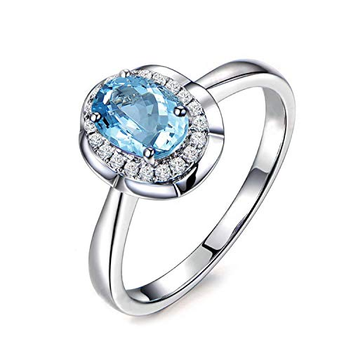 AMDXD Jewelry 925 Sterling Silver Wedding Rings Girl Blue Oval Cut Topaz Round Ring Size 5
