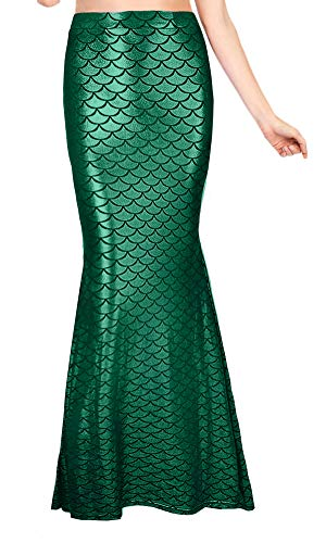 Spadehill Halloween Maxi Skirt Womens Sexy High Waist Fish Scales Costume Cosplay Shiny Party Wear Green S