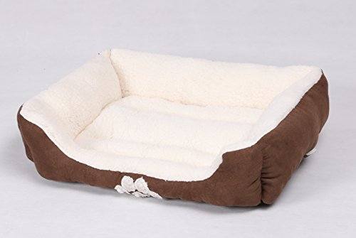 HappyCare Textiles Rectangle Pets Bed with Dog Paw Embroidery, (Medium Round Pet Bed)