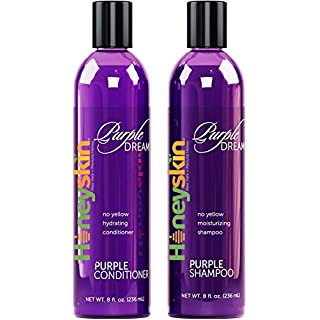 Purple Shampoo and Conditioner No Yellow Set - Natural Sulfate Free - Brassy, Silver and Color Treated Hair Moisturizer - Natural Aloe Vera and Coconut Oil - Blonde, Grey and Bleached Hair Toner (8oz)