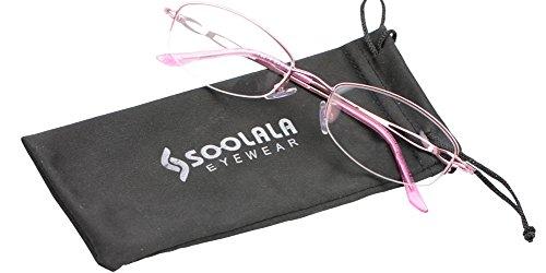 sh Reader Eyeglass Semi-rimless Exquisite Alloy Frame Reading Glasses, Pink, +1.5 (581 Glasses)