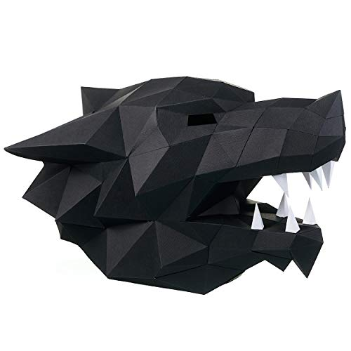 Paperraz DIY 3D Wolf Head Mask Animal Puzzle Low Poly PaperCraft Building Kit - NO Scissors Needed