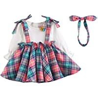 Baby Girl Cute Long Sleeve Princess Pleated Dress, Newborn Infant Plaid School College Wind Dress Bow Headband Set