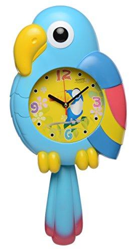EZ Life Perky Parrot with Pendulam Kids Wall Clock (32 cm x 25 cm x 5 cm, Blue)