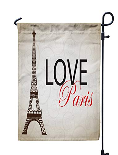 GROOTEY Welcome Outdoor Garden Flag Home Yard Decorative 12X18 Inches Paris Cards As Symbol Love Romance Travel Double Sided Seasonal Garden -