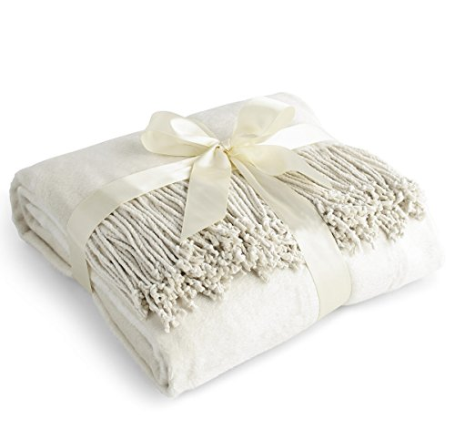 (Luxury Pure 100% Mulberry Silk Throw, Genuine Natural 100% Silk Oversized Super Soft Plush Blanket in Ivory or Beige (Off)