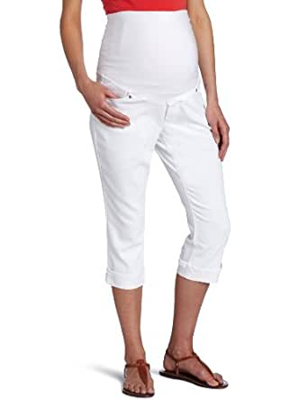 Three Seasons Maternity Women's Maternity Denim Skinny Capri Short, White, X-Large