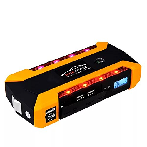 Portable Car Jump Starter Kit 600A Peak 20000mAh 6.0L Diesel 12V Auto Battery Booster Emergency Power Pack Multi function Lithium Power Bank 4 USB Ports Phone Laptop Charger LED Flashlight Compass SOS