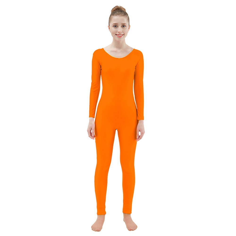 Ensnovo Womens Spandex Bodysuit Long Sleeve Scoop Neckline Footless Unitard FluOrange, L by Ensnovo