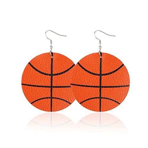 (LIANKONG Leaf Leather Earrings Faux Leather Teardrop Sports Baseball Basketball Volleyball Earrings (Basketball-Round))