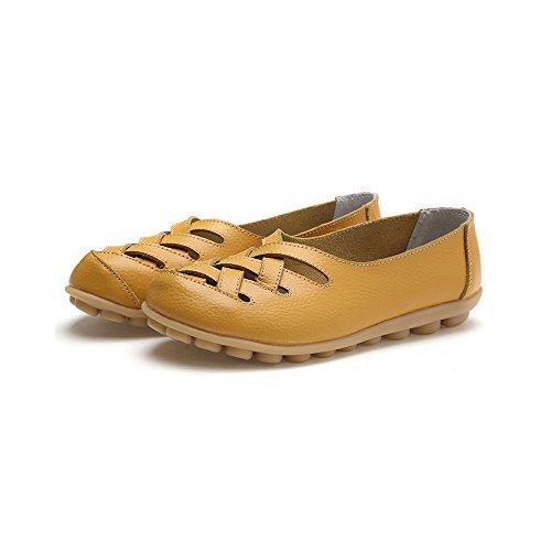 Gelukslager Dames Hol Leer Leeg Loafers Schoenen Geel