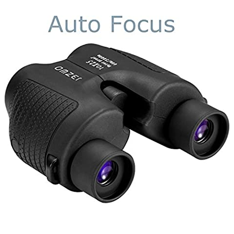 OMZER 10x25 Automatic Fixed-Focus Binocular with low light Night Vision,High Power Waterproof Compact Auto Focus Binoculars fit Adults Kids for Hiking,Camping,Racing,Sports and Cultural (Self Focusing Binoculars)