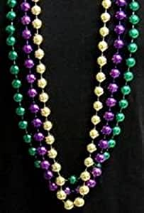 "Mardi Gras, Purple, Green, and Gold Metallic Beads, 14 mm, 48"", 1 Dozen (12pcs)."