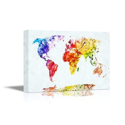 World Map in Watercolor Style | 24x36 inch Stretched Gallery Canvas Print
