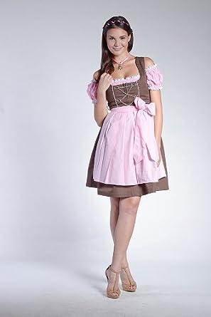 Mini- oder Midi-Dirndl Lina braun inkl donnerlittchen Bluse und Sch/ürze- rosa//wei/ß 32-46