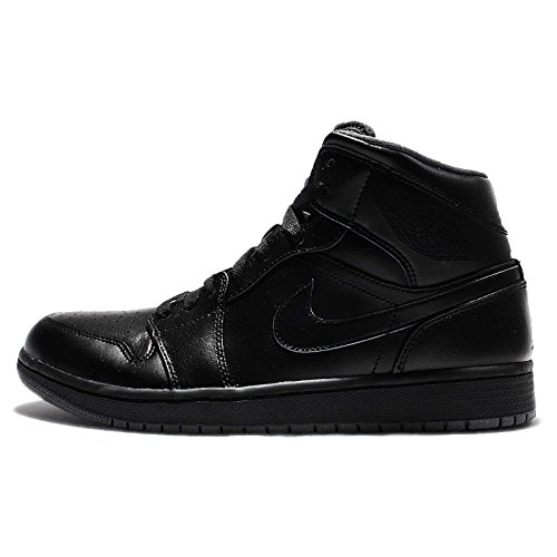 Nike Men's Air Jordan 1 Mid Black/Black/Dark Grey Basketball Shoe - 10 D(M) (Jordan Shoes Casual)