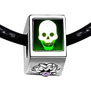 Chicforest Silver Plated scary Halloween skull Photo Light Amethyst Crystal June Birthstone Flower Charm Beads Fits Pandora Bracelet