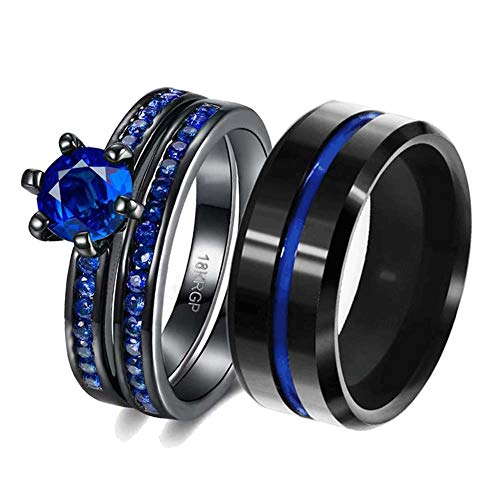LOVERSRING Couple Ring Bridal Set His Hers Women Black Gold Plated Blue Agate Men Stainless Steel Wedding Ring Band