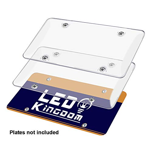 LEDKINGDOMUS Car License Plates Shields Front and Back 2 Pack Clear License Plate Covers Bubble Novelty License Plates Protector Fit Any Standard US Plates