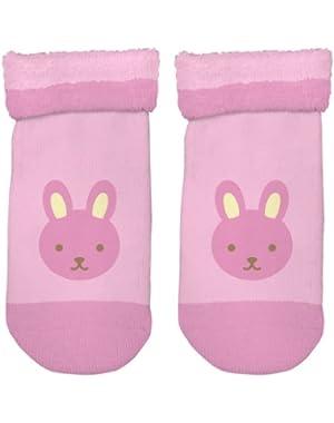 Organic Plush Socks Pink Bunny 3 Months