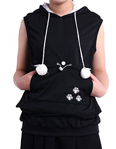 Sleeveless Hoodie Pet Holder Cat Dog Kangaroo Pouch Carriers Pullover Black XXL