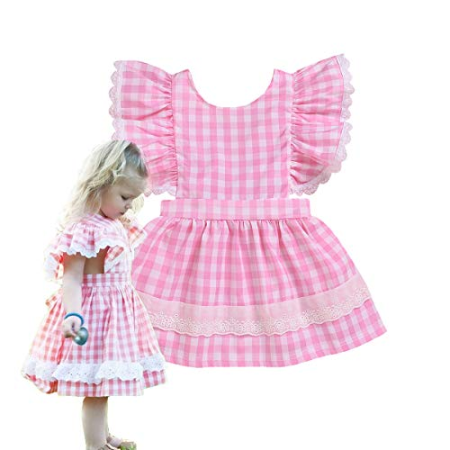 Toddler Baby Girls Buffalo Plaid Lace Smocked Overall Dress Summer Outfit (Pink, 2-3T)