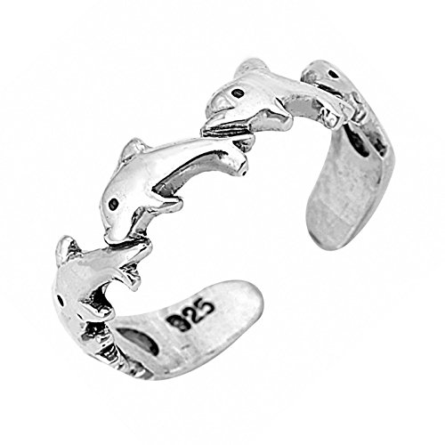 Wedding Season Import 4mm Dolphins Wraparound Adjustable Toe Ring .925 Sterling Silver (Wrap Around Dolphin)