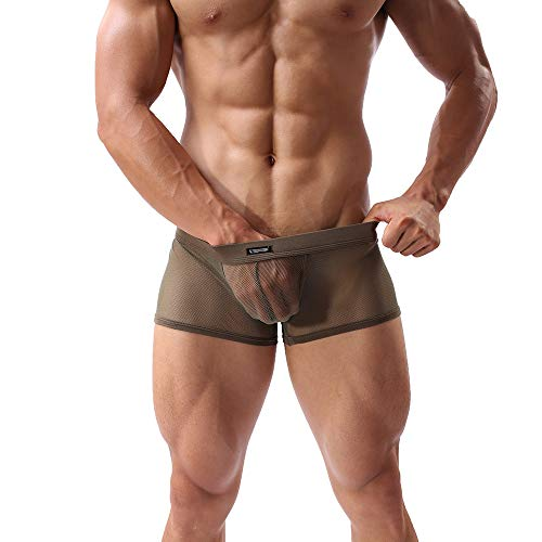 (Sheii Mens Boxer Briefs Soft Mesh Breathable Underpants Men's Sexy Underwear Cool Design Stretch Trunks Pack(A3,Army,XL))