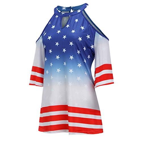 938cb8778eb Amazon.com   Fiaya 4th Of July Women Clothes Blouse Plus Size Short Sleeve  American Flag Loose T-Shirt Tank Top (Blue A01