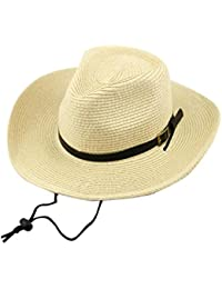9c108c27eee TM Unsex Belt Fastener Cow Boy Woven Collapsible Wide Brim Sunhat