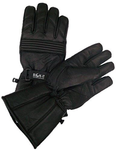 Ganzleder-Motorrad-Handschuhe von Blok-IT. Die Handschuhe sind thermisch, aus 3M Thinsulate Material. Für Mountainbiker, Krafträder & Motorradfahrer (schwarz, S)