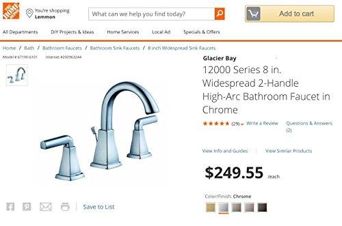 Glacier Bay 12000 Series 8 In Widespread 2 Handle High Arc Bathroom