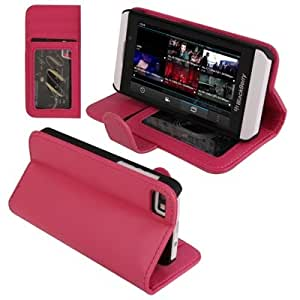 Smooth Horizontal Flip Leather Case with Credit Card Slots & Holder for BlackBerry Z10 (Magenta)