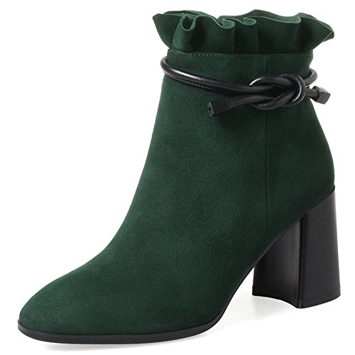 Leather Heel Chunky Nine Toe Seven Booties Zip Green Handmade Ankle Side Dark Dressy Women's Suede Cute Round 0YxHfEHqw