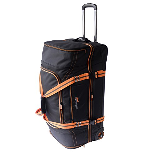 Large Wheeled Duffel 29 (Bravo Gear 30 Inch Rolling Upright Duffel Bag Softside Travel Carry On Luggage Orange Large Camp XL Duffle Bag)