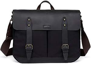 Leather Canvas Messenger Bag for Men and Women 15.6 inch Laptop Vintage Satchel Business Briefcase Shoulder Bag