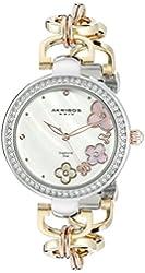 Akribos XXIV Women's AK874TRI Round White Mother of Pearl Dial Three Hand Quartz Strap Watch
