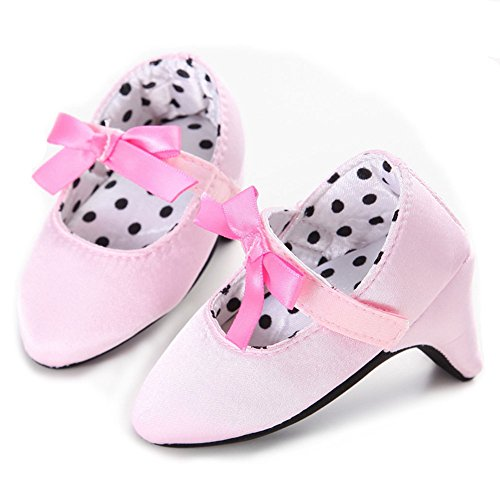 Newborn Baby Girls High Heels Shoes Bowknot Soft Sole Crib Shoes (6-12 M, Pink)