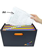 Rapesco documentos - Supafile Plus A4 + Archivador de acordeón horizontal con 13 compartimentos multicolores