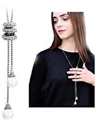 Crystal Tassel Pearl Leaf Pendant Necklace Snowflake Long Chain Sweater Jewelry for Women Girls