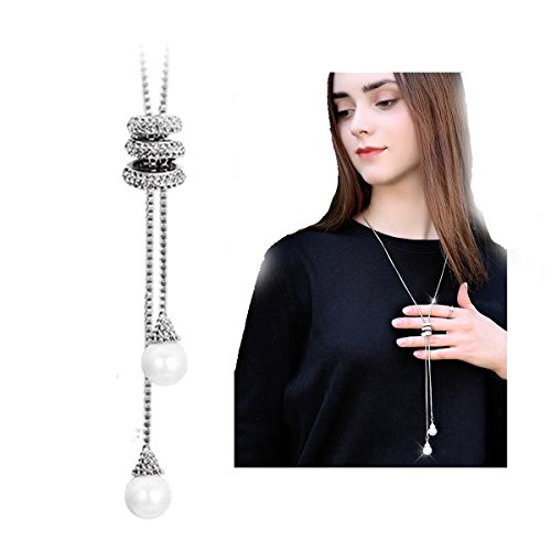 JOYA GIFT Crystal Tassel Pearl Leaf Pendant Necklace Snowflake Long Chain Sweater Jewelry for Women Girls (Crystal Snowflake Pendant Necklace)