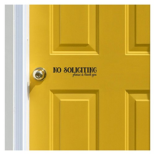 No soliciting..please and thank you vinyl wall decal (Black)