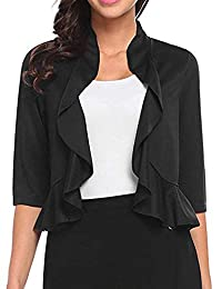 Meaneor Women's Open Front Cropped Cardigan 3/4 Sleeve Casual Shrugs Jacket Ruffles Lightweight Sweaters