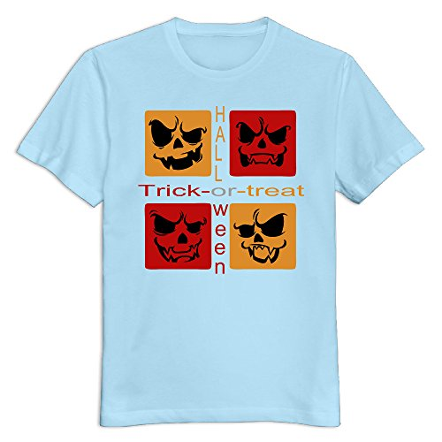 Floyd Mayweather Halloween (Men's 100% Cotton Happy Halloween Day O Neck T-Shirt SkyBlue US Size)