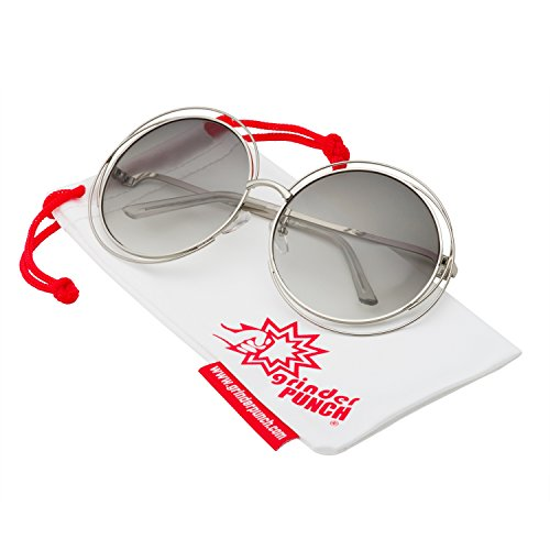 grinderPUNCH Women's Round Oversized Wire Sunglasses in Metal Silver - Coachella Sunglasses