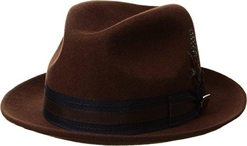 STACY ADAMS Men's Pinch Front Wool Fedora Brown - Front Pinch Fedora