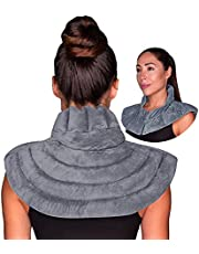Neck & Shoulder Wrap - Weighted Microwavable Hot & Cold Compress | Moist Heat Heating Pad & Ice Pack for Injuries Reusable Therapy for Instant Pain Relief, Tension, Stress, Upper Back, Swelling (Grey)