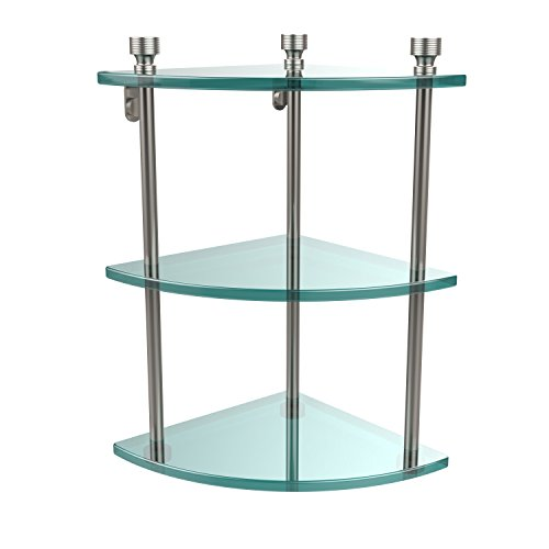 Allied Brass FT-6-SN Triple Corner Glass Shelf Satin Nickel by Allied Brass