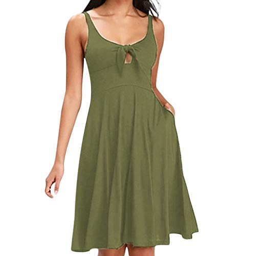 Sunhusing Ladies Sexy Strapless Round Neck Sleeveless Bow Tie Strap Dress Casual Pleated Beach Dress Green